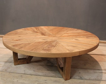 Coffee Table, 4ft Coffee / Reception Table, Handmade Rustic Parquet (The Dernwood)