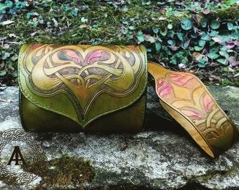 Small shoulder green leather bag Art Nouveau