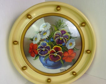 Vintage still life painting, vase of flowers in a round porthole frame, Jelson Art - Marcia, acrylic, pansies, granny chic