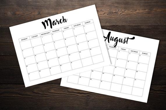 planificador mensual 2017 descargable en blanco y negro
