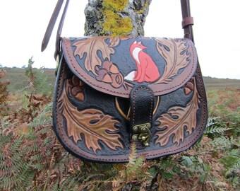 Red Fox, Oak and Pentagram Handmade Leather Tooled Shoulder Bag