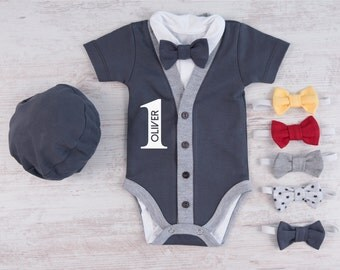 1st BIRTHDAY BOY OUTFIT, Personalized Graphite Gray Cardigan, Bodysuit, Hat & Bow Tie Set, First Birthday Photo Props, One Year Old Boy