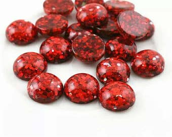 10pcs 12mm Ruby Red Glitter Resin Dome Metallic Cabochons DIY Cabochon Jewelry Supply Jewellery Supplies Mermaid Earrings Cameo Bezel