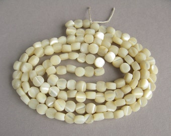 Art Deco bead necklace, Antique mother of pearl beads, Vintage nacre beads, Mother of Pearl beads,