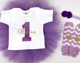 Cake smash outfit girl - Purple and gold - first birthday outfit girl - tutu outfit