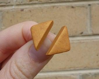 Triangle stud earrings, triangle earrings, triangle jewelry, mustard earrings, polymer clay triangle studs, polymer clay jewelry, FREE ship