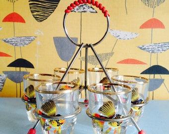 Set of 6, Fish, Shot Glasses in Holder, 1960s
