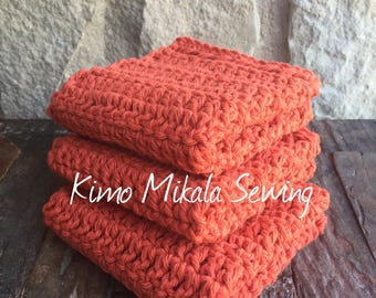 Crocheted Dishcloths - Burnt Orange - 100% Cotton - Set of Three