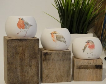 English Robin Tealight Holder Set