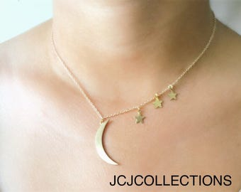 Crescent Moon & Star Necklace, To the Moon and Star Necklace