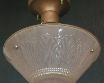 Vintage Lighting: 1930s-40s classic bead chain ceiling light with translucent coloured pressed glass shade