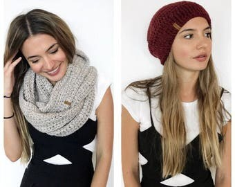 Alpaca Beanie and Cowl Set • Super soft and warm handmade crochet mix and match infinity scarf and wool hat set (adult or child)