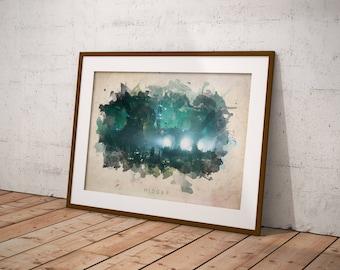 Final Fantasy 7 - Midgar Abstract Watercolor Poster