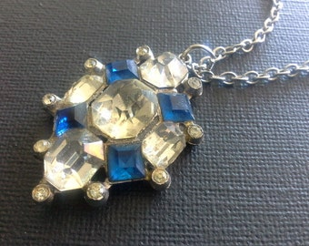 Vintage Art Deco Blue & Clear Crystal Silver Tone Pendant Necklace