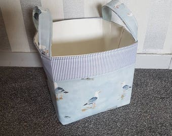 Large Storage Basket/Box. Pretty Seaside Seagulls on Blue Background with Nautical Stripe Band. With Handles and Fully Lined. 100% Cotton