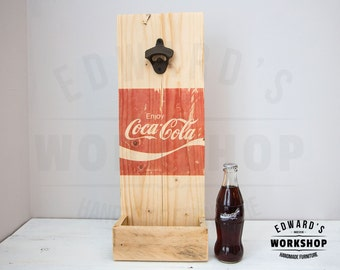 Bottle opener up cycled pallet wood Coca Cola Coke Rustic