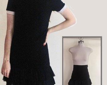 Black Vintage Mini Skirt, Very High Waisted Bohemian Mini Skirt,Asymmetrical Ruffle Boho look, Size Small