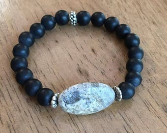Handmade Bracelet, Fossilized Coral Stone and Black Onyx