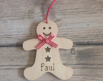 GINGERBREADMAN Natural Birch Wooden Christmas Tree decorations Personalised Engraved.