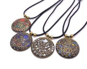 Tibetan Disk Pendant Necklace