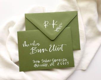 Hand lettered envelopes - White brush lettering