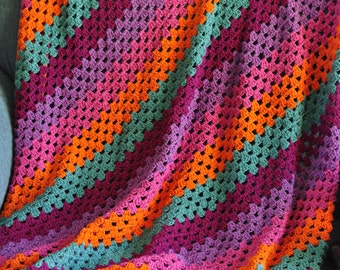 Diagonal Granny Stripe Blanket