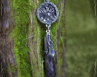 Péndulo collar árbol de la vida en amatista, árbol de la vida colgante, colgante Yggdrasil, joyería pagana