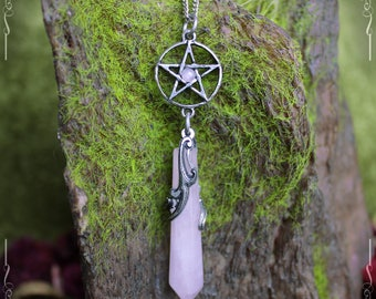 Pentagram pendulum necklace, pentacle pendant with rose quartz, pagan necklace, pagan jewelry, esoteric jewelry
