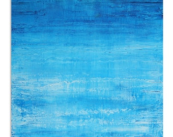 Aqua Blue Water Reflection Abstract Textured Painting by Vincent Reed