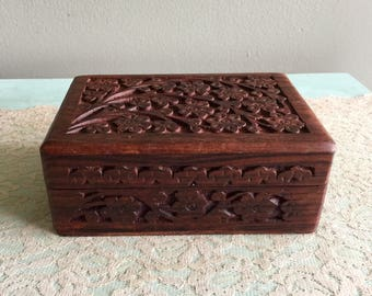 Carved wooden jewelry box ornate wooden box