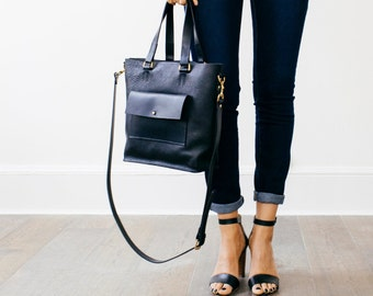 Eleanor - Milled Black Leather Tote