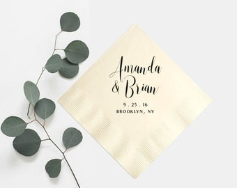 Wedding Napkins Personalized in Your Names - Foil Stamped Beverage Napkin Favors Cocktail Custom