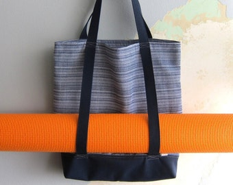 Nautical yoga tote bag & matching wristlet, Yoga bag and matching pouch - Nautical navy and white - 2 pieces set
