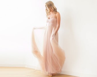 Pink maxi tulle ballerina gown, Sweetheart neckline maxi gown 1061