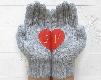 VALENTINE'S Day GIFT, EXPRESS Shipping, Personalized, Custom Gift, Heart Gloves, Monogram Gloves, Valentine's, Gift For Her, Gift For Lover