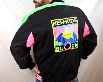 Vintage RARE NKOTB New Kids on the Block Neon 90s 1990 Tour Jacket Coat