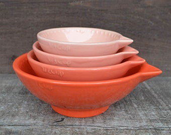 Shades of Coral Nesting Ceramic Measuring Cups - Ombre - 1 Cup, 1/2 Cup, 1/3 Cup, 1/4 Cup - Neon Coral / Pink / Orange