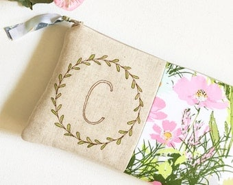 Personalized Women's Gift, Monogram Clutch, Floral Initial Clutch, Personalized Gift for Her, Monogram Women Gift Ideas, Pink and Green