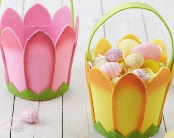 Tulipe fleur panier de Pâques - Easter Egg Hunt Basket en feutrine
