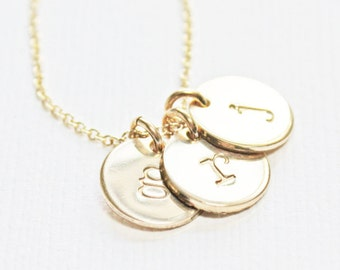 Gold Tiny Initial Necklace, Personalized Necklace with Kids Initials, Minimalist Letter Alphabet Jewelry, Gift for New Mom, Push Present
