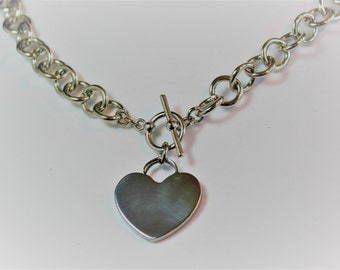 Silver Heart and Chain Necklace
