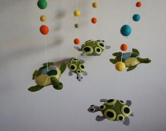Mobile 5 turtle in handmade felt