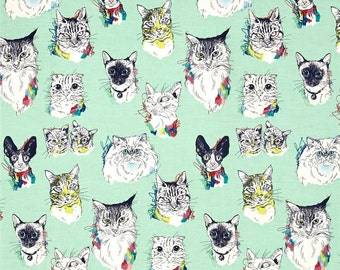 Meow Wow Wow Cat Portraits Sea Glass By Alexander Henry Fabrics