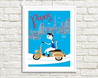 "Original, Paris City Cat on Moped, sizes: 8"" x 11"", 11"" x 14"" and 20""x 25"". High resolution, Instant downloadable print // home decor"