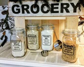 Breakfast Canister Set / The Breakfast Club Glass Canisters / Kitchen  Organization / Glass Locking Jars