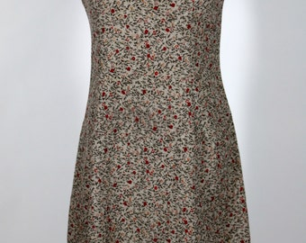 Tan Dress with small Red Flowers and Green Branches Size Medium/Large
