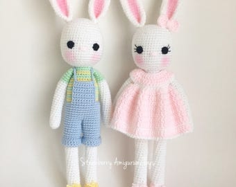 Crochet Bunny Rabbit with dress (for girls) or in pants (for boys)  The price is for ONE bunny