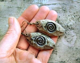 olive green earrings Ethnic Earrings olive earrings natural stone earrings unusual earrings ceramic jewelry olive green jewelry