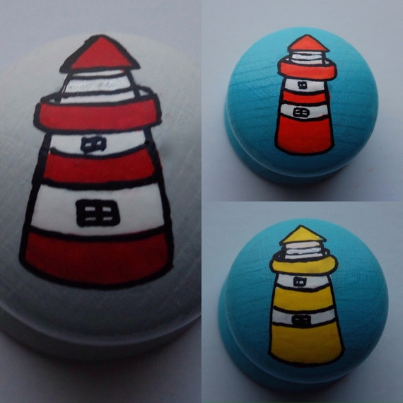 Lighthouse Drawer Knob/ Cupboard Handle- Hand Painted 6 Colours- Red, Blue, Green, Yellow, Orange, Pink- 3 Sizes Available 30mm, 40mm, 53mm