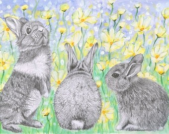 Baby Bunnies - A4 or A3 print of graphite, watercolour, acrylic on paper. Rabbits nursery sketch painting Spring lemon yellow flowers art